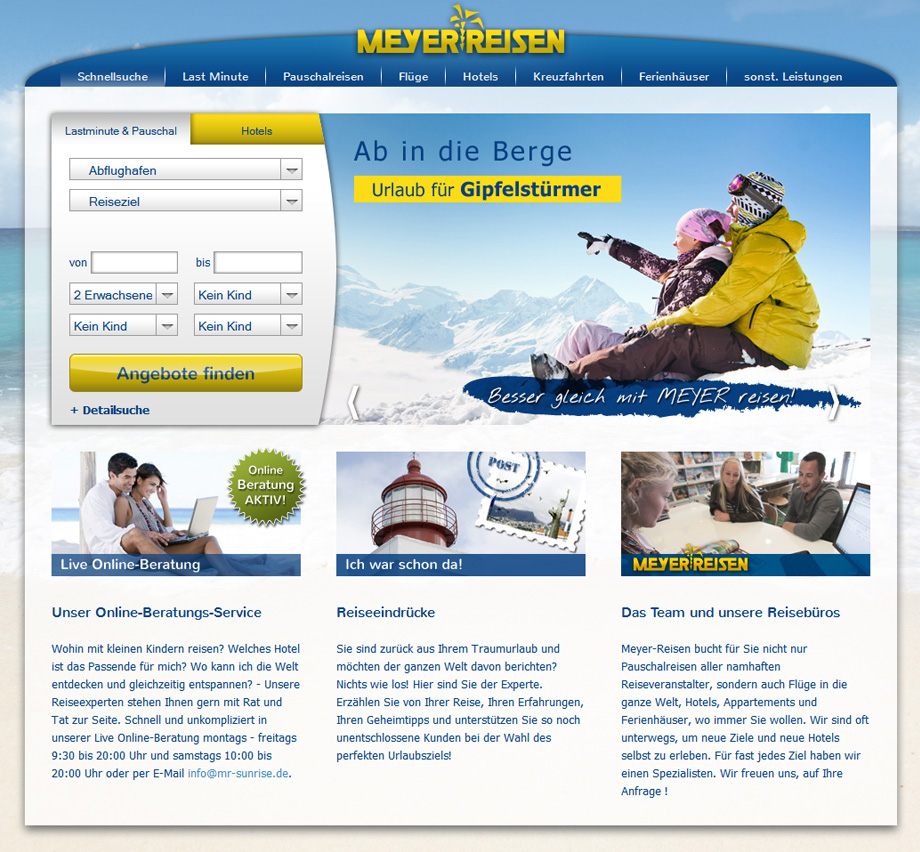 meyer reisen website